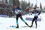 Quentin Fillon Maillet (FRA) ahead of Kalev Ermits (EST) at the Sprint Men Event of the IBU World Championships Biathlon 2019 Ostersund  Sprint Men Event in Ostersund, Sweden on March 9, 2019; <br />  &copy; Pierre Teyssot