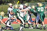 Manhattan Beach, CA 10/27/11 - Garrett Nelsen (Peninsula #88) and Luke Morrow (Peninsula #33) in action during the Peninsula vs Mira Costa Junior Varsity football game.