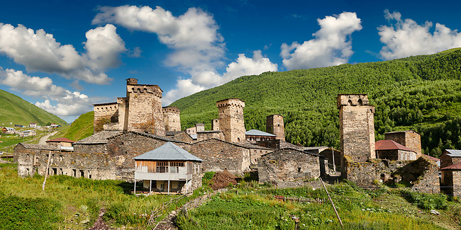 Stone medieval Svaneti tower houses of Chazhashi, Ushguli, Upper Svaneti, Samegrelo-Zemo Svaneti, Mestia, Georgia. Chazhashi is the main village of a group of four remote villages known collectively as Ushguli. At 2,200 m (7217 ft) above sea level in the Caucasus mountains these are the highest inhabited villages in Europe. Chazhashi has 13 well preserved stone Svanetian defensive tower houses attached to stone family houses. A UNESCO World Heritage Site.