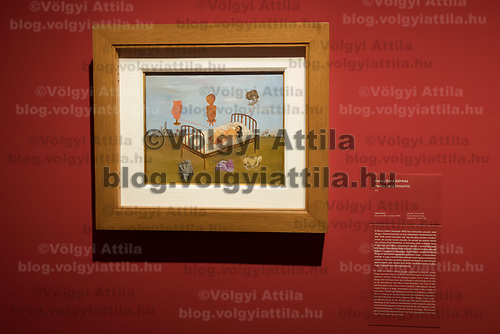 An artwork by Mexican painter Frida Kahlo titled Henry Ford Hospital is seen on display at the Frida Kahlo exhibition in the National Gallery in Budapest, Hungary on July 5, 2018. ATTILA VOLGYI