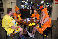 Fans at Emersons Bar on day one of the 2016 HSBC Wellington Sevens at Westpac Stadium, Wellington, New Zealand on Saturday, 30 January 2016. Photo: Dave Lintott / lintottphoto.co.nz