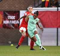20180406 - LEUVEN , BELGIUM : Belgian Laura De Neve (L) and Portugese Diana Silva (R)   pictured during the female soccer game between the Belgian Red Flames and Portugal , the fourth game in the qualificaton for the World Championship qualification round in group 6 for France 2019, Friday 6 th April 2018 at OHL Stadion Den Dreef in Leuven , Belgium. PHOTO SPORTPIX.BE | DIRK VUYLSTEKE