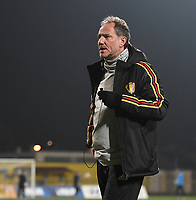 20191108 - Zapresic , BELGIUM : Belgian assistant coach Kris Van Der Haegen pictured during the female soccer game between the womensoccer teams of  Croatia and the Belgian Red Flames , the third women football game for Belgium in the qualification for the European Championship round in group H for England 2021, friday 8 th october 2019 at the NK Inter Zapresic stadium near Zagreb , Croatia .  PHOTO SPORTPIX.BE | DAVID CATRY