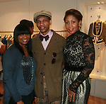 Ila, Lawerence Levins and Designer Stefanie Taylor attend an exclusive elegant evening of fashion and design through Shop for a Cause highlighting art and fashion from local emerging Haitian artisans Hosted by Designer, Tracy Reese, JRT Multimedia, CEO Jocelyn Taylor and BACARDI USA at the Tracy Reese Flagship Store 1/26/11<br />