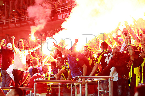 26.05.2016. Antalya , Turkey. Ziraat Turkish Cup Final match between Fenerbahce and Galatasaray at Antalya Arena on May 26. Flares lit by the supporters