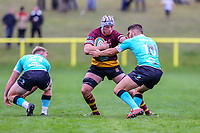 Joe Bercis of Ampthill Rugby (centre) during the Greene King IPA Championship match between Ampthill RUFC and Nottingham Rugby on Ampthill Rugby's Championship Debut at Dillingham Park, Woburn St, Ampthill, Bedford MK45 2HX, United Kingdom on 12 October 2019. Photo by David Horn.