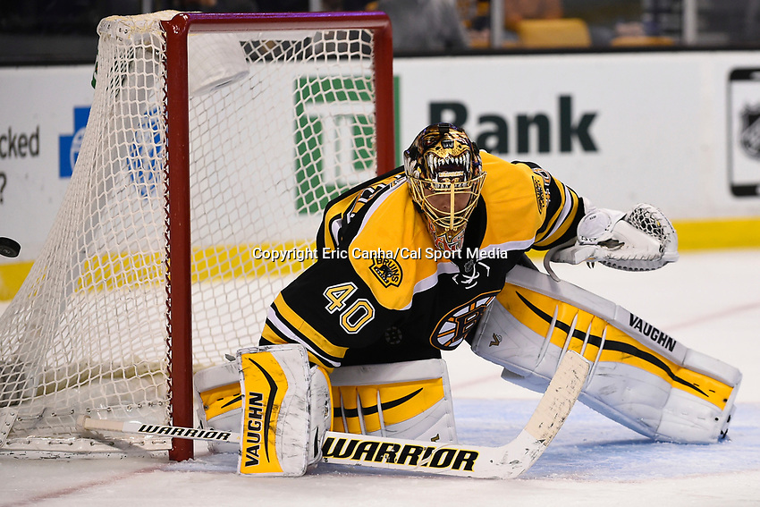 March 12, 2015 - Boston, Massachusetts, U.S. - Boston Bruins goalie Tuukka Rask (40) makes a save during the NHL match between the Tampa Bay Lightning and the Boston Bruins held at TD Garden in Boston Massachusetts. Eric Canha/CSM