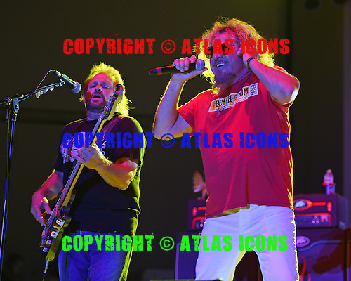 WEST PALM BEACH - APRIL 30: Michael Anthony and Sammy Hagar of Sammy Hagar and The Circle perform during Day 2 of Sunfest on April 30, 2015 in West Palm Beach, Florida.(Photo By Larry Marano (C) 2015