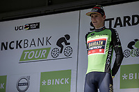 podium for GC Leader Matej Mohoric (SLO/Bahrain Merida)<br /> <br /> Binckbank Tour 2018 (UCI World Tour)<br /> Stage 6: Riemst (BE) - Sittard-Geleen (NL) 182,2km