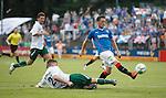 Nicky Clark denied in front of goal by a last ditch tackle from defender Simon Schubert