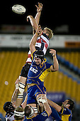 Andrew Van der Heijden manages to tap back lineout ball. Air New Zealand Cup rugby game played at Mt Smart Stadium, Auckland, between Counties Manukau Steelers & Otago on Thursday August 21st 2008..Otago won 22 - 8 after leading 12 - 8 at halftime.