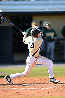 Central Florida Knights infielder Tommy Williams (14) hits a home run during a game against the Siena Saints at Jay Bergman Field on February 16, 2014 in Orlando, Florida.  UCF defeated Siena 9-6.  (Mike Janes/Four Seam Images)