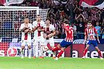 Atletico de Madrid Antoine Griezmann and SD Huesca Roberto Santamaria and Samuele Longo during La Liga match between Atletico de Madrid and SD Huesca at Wanda Metropolitano Stadium in Madrid, Spain. September 25, 2018. (ALTERPHOTOS/Borja B.Hojas)