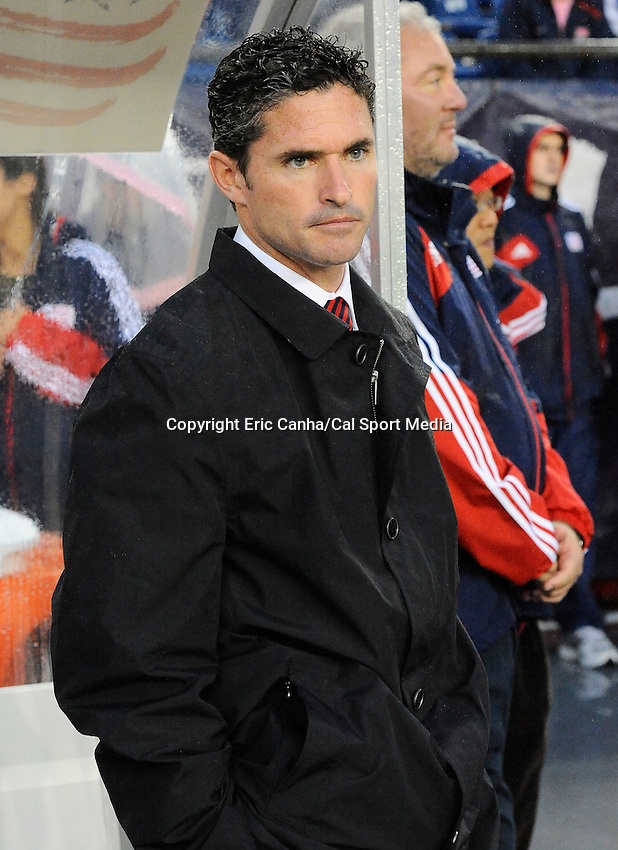 June 2 2012 New England Revolution head coach Jay Heaps at Gillette Stadium, during the New England Revolution vs. Chicago Fire MLS game in  Foxborough, Massachusetts. Eric Canha/CSM