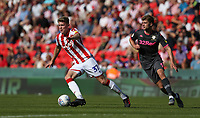 Stoke City's Nathan Collins and Leeds United's Patrick Bamford<br /> <br /> Photographer Stephen White/CameraSport<br /> <br /> The Premier League - Stoke City v Leeds United - Saturday August 24th 2019 - bet365 Stadium - Stoke-on-Trent<br /> <br /> World Copyright © 2019 CameraSport. All rights reserved. 43 Linden Ave. Countesthorpe. Leicester. England. LE8 5PG - Tel: +44 (0) 116 277 4147 - admin@camerasport.com - www.camerasport.com
