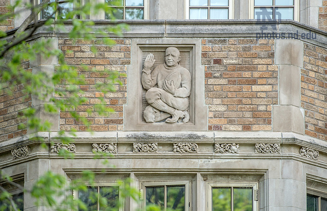 May 7, 2015; Relief of Knute Rockne on the east side of Alumni Hall. (Photo by Matt Cashore/University of Notre Dame)