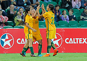 26th March 2018, nib Stadium, Perth, Australia; Womens International football friendly, Australia Women versus Thailand Women; Matildas players Samantha Kerr Alex Chidiac and Lisa De Vanna celebrate De Vannas second goal during the second half