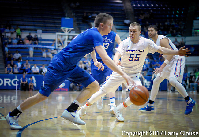 March 4, 2017:  Air Force guard, Jacob Van #15, drives for the basket during the NCAA basketball game between the Boise State Broncos and the Air Force Academy Falcons, Clune Arena, U.S. Air Force Academy, Colorado Springs, Colorado.  Boise State defeats Air Force 98-70.