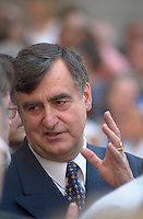 June 22, 2003, Montreal, Quebec, Canada.<br /> <br /> Lucien Bouchard, former Quebec Premier attend the Funerals of Pierre Bourgault, Communicator, Teacher and former politician,  June 22, 2003 at the Notre Dame Basilica in Montreal, Canada.<br /> <br /> Mandatory Credit: Photo by Pierre Roussel- Images Distribution. (&copy;) Copyright 2003 by Pierre Roussel