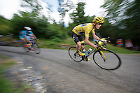 Chris Froome (GBR/SKY) descending the Col de Chaussy (C1/1533m/14.4km@6.3%)<br /> <br /> stage 19: St-Jean-de-Maurienne - La Toussuire / Les Sybelles   (138km)<br /> Tour de France 2015