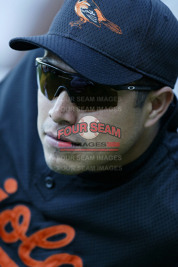 Rodrigo Lopez of the Baltimore Orioles before a 2002 MLB season game against the Los Angeles Angels at Angel Stadium, in Los Angeles, California. (Larry Goren/Four Seam Images)