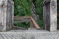 Photo by Stephen Brashear.A trestle towers above a creek along the John Wayne Pioneer Trail between Hyak, Wash., and Rattlesnake Lake near North Bend, Wash., Sunday Aug. 17, 2008. The trail is part of the old Chicago-Milwaukee-St. Paul-Pacific Railroad