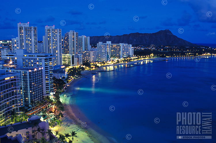 romantic Waikiki beach and Diamond Head just after sunset