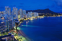 romantic Waikiki beach and Diamond Head just after sunset