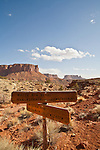 Canyonlands National Park, Utah, Islands in the Sky District, Murphy Point trail, sign for White Rim Road, Southwest, United States, USA,