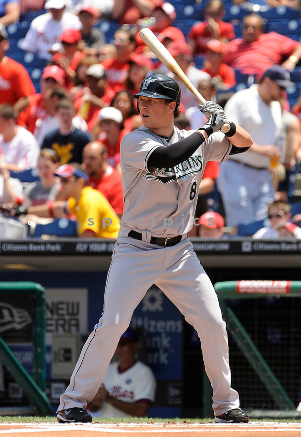CHRIS COGHLAN, of the Florida Marlins, in action during the Marlins game against the Philadelphia Phiilies on June 15, 2011 at  Citizens Bank Park in Philadelphia, Pennsylvania. The Phillies beat the Marlins 8-1.