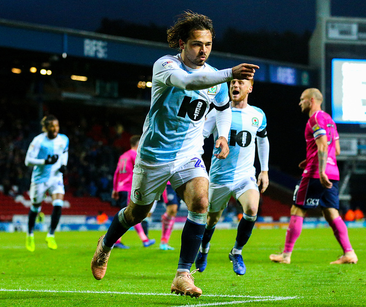 Blackburn Rovers' Bradley Dack celebrates scoring the opening goal <br /> <br /> Photographer Alex Dodd/CameraSport<br /> <br /> The EFL Sky Bet Championship - Blackburn Rovers v Queens Park Rangers - Saturday 3rd November 2018 - Ewood Park - Blackburn<br /> <br /> World Copyright © 2018 CameraSport. All rights reserved. 43 Linden Ave. Countesthorpe. Leicester. England. LE8 5PG - Tel: +44 (0) 116 277 4147 - admin@camerasport.com - www.camerasport.com