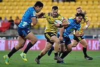 Hurricanes&rsquo; Wes Goosen in action during the Super Rugby - Hurricanes v Blues at Westpac Stadium, Wellington, New Zealand on Saturday 7 July 2018.<br /> Photo by Masanori Udagawa. <br /> www.photowellington.photoshelter.com