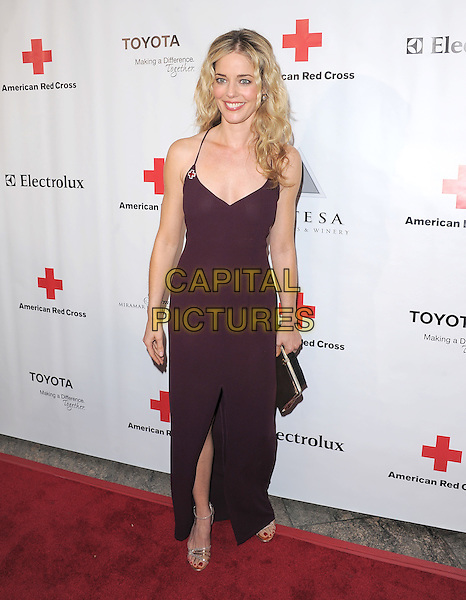 CHRISTINA MOORE .At The American Red Cross, Santa Monica Chapter's Annual Red Tie Affair held at The Fairmont Miramar Hotel & Bungalows in Santa Monica, California, USA, April 9th 2011..full length purple brown aubergine dress long maxi sleeveless  slit split .CAP/RKE/DVS.©DVS/RockinExposures/Capital Pictures.