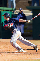 Cody Kulp #7 of the Shippensburg Red Raiders follows through on his swing against the Catawba Indians at Newman Park on February 12, 2011 in Salisbury, North Carolina.  Photo by Brian Westerholt / Four Seam Images