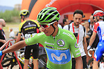 Green Jersey Nairo Quintana (COL) Movistar Team at sign on before the start of Stage 4 of La Vuelta 2019 running 175.5km from Cullera to El Puig, Spain. 27th August 2019.<br /> Picture: Eoin Clarke | Cyclefile<br /> <br /> All photos usage must carry mandatory copyright credit (© Cyclefile | Eoin Clarke)