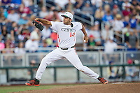 Miami Hurricanes pitcher Danny Garcia (14) delivers a pitch to the plate during the NCAA College baseball World Series against the Arkansas Razorbacks  on June 15, 2015 at TD Ameritrade Park in Omaha, Nebraska. Miami beat Arkansas 4-3. (Andrew Woolley/Four Seam Images)