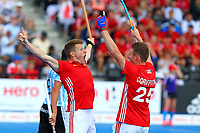 Chris Griffiths celebrates with Sam Ward as England score to take the score to 2-0 during the Hockey World League Semi-Final match between England and Argentina at the Olympic Park, London, England on 18 June 2017. Photo by Steve McCarthy.