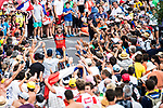 Bahrain-Merida rider gets the crowds going as he climbs during Stage 15 of the 104th edition of the Tour de France 2017, running 189.5km from Laissac-Severac l'Eglise to Le Puy-en-Velay, France. 16th July 2017.<br /> Picture: ASO/Alex Broadway | Cyclefile<br /> <br /> <br /> All photos usage must carry mandatory copyright credit (&copy; Cyclefile | ASO/Alex Broadway)