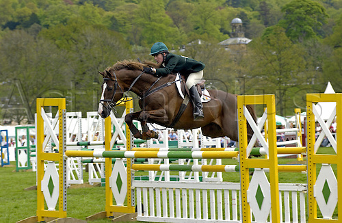 14 May 2005: British rider Sarah Wardell on Test Flight competing in the show-jumping section of the Ssangyong Chatsworth Horse Trials, at Chatsworth, Derbyshire. Photo: Martin Cushen/Actionplus..050514 showjumping equestrian horses