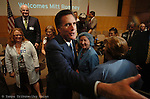 Massachusetts Gov. Mitt Romney met some of his supporters after he spoke at the Moffitt Cancer Center in Tampa as he campaigns for president.