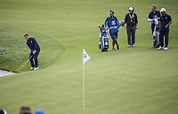 Tyrrell Hatton (Team Europe) plays on the 9th during Friday's Fourballs, at the Ryder Cup, Le Golf National, Îls-de-France, France. 28/09/2018.<br /> Picture David Lloyd / Golffile.ie<br /> <br /> All photo usage must carry mandatory copyright credit (© Golffile | David Lloyd)