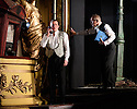 London, UK. 04.11.2016. AN INSPECTOR CALLS, by J B Priestley, opens at the Playhouse Theatre.  It is the 70th anniversary of the first UK staging of the play and the 25th anniversary of its first appearance at The National Theatre, directed by Stephen Daldry. Lighting design is again by Rick Fisher with set and costume design by Ian MacNeil. Picture shows: Matthew Douglas (Gerald Croft), Clive Francis (Mr Birling). Photograph © Jane Hobson.