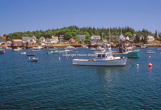 View of the harbor at Vinalhaven, Maine, USA