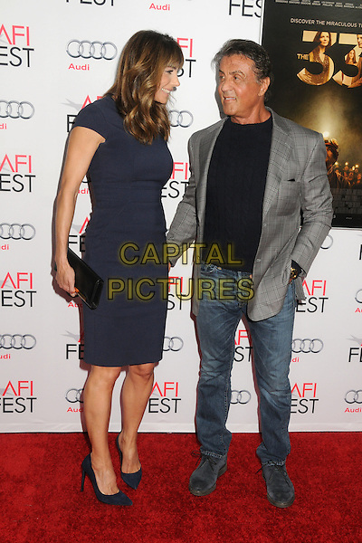 9 November 2015 - Los Angeles, California - Jennifer Flavin, Sylvester Stallone. AFI FEST 2015 - &quot;The 33&quot; Premiere held at the TCL Chinese Theatre. <br /> CAP/ADM/BP<br /> &copy;BP/ADM/Capital Pictures