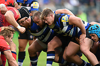 Nick Auterac of Bath Rugby prepares to scrummage against his opposite number. Aviva Premiership match, between Bath Rugby and Worcester Warriors on October 7, 2017 at the Recreation Ground in Bath, England. Photo by: Patrick Khachfe / Onside Images