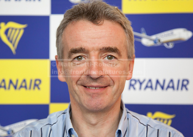 10/10/2011. LONDON, UK. Michael O'Leary, CEO of budget airline Ryanair, is seen at the launch of his company's new 'Cash Passport' debit card. The card, launched today (11/10/11) aims to allow Ryanair's regular customers to avoid its £6 admin fee when booking flights. Photo credit: Matt Cetti-Roberts