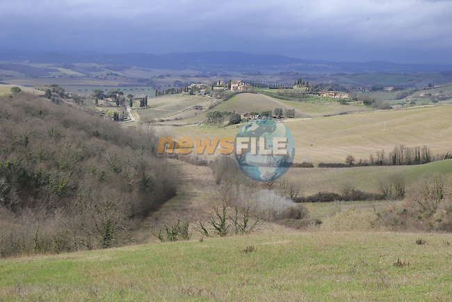 The view from gravel sector 6 Pieve a Salti during the 2017 Strade Bianche running 175km from Siena to Siena, Tuscany, Italy 4th March 2017.<br /> Picture: Eoin Clarke | Newsfile<br /> <br /> <br /> All photos usage must carry mandatory copyright credit (&copy; Newsfile | Eoin Clarke)