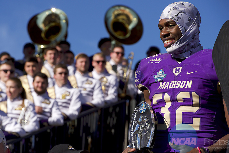 FRISCO, TX - JANUARY 07:  James Madison University celebrates their victory over Youngstown State University during the Division I FCS Football Championship held at Toyota Stadium on January 7, 2017 in Frisco, Texas.  James Madison defeated Youngstown State 28-14 for the national title.  (Photo by Jamie Schwaberow/NCAA Photos via Getty Images)