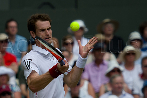 June 24 2010:  Andy Murray v Jarkko Nieminen played on Centre Court.  Wimbledon international tennis tournament held at the All England Lawn Tennis Club, London, England.