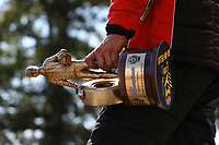 Jun 11, 2017; Englishtown , NJ, USA; Detailed view of the Wally trophy in the hand of NHRA pro stock driver Greg Anderson as he celebrates after winning the Summernationals at Old Bridge Township Raceway Park. Mandatory Credit: Mark J. Rebilas-USA TODAY Sports